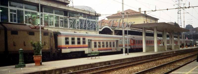 """La carrozza a piano ribassato per trasporto bici al vero, in composizione al """"Treno Verde"""" a Lecco il 30 gennaio 1993"""