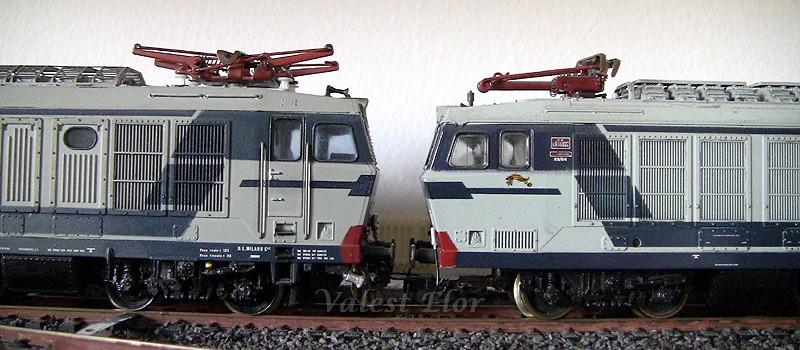 Tigri faccia a faccia: a sinistra la E632 042 Rivarossi, a destra la E633 022 Lima