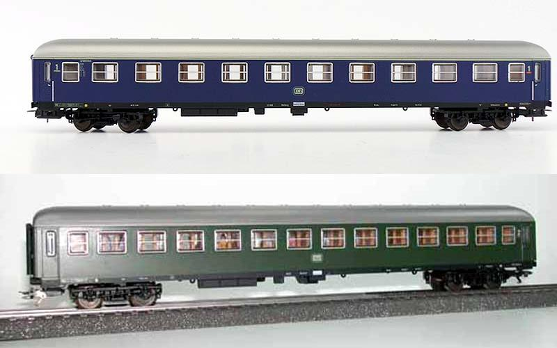 Carrozze UIC-X DB: sopra la 1ª classe in livrea blu (art. 309172K - foto da auktion.catawiki.de), sotto la 2ª classe in livrea verde (art. 309178K - foto da modelleisenbahn.com)