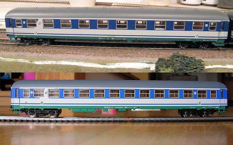 "Carrozze UIC-X FS in livrea XMPR: sopra la 1ª classe (art. 309460), sotto la 2ª classe (art. 309461) - foto da pagina Facebook ""Lima Trenini elettrici"""