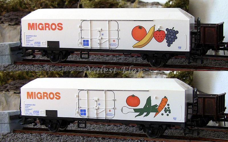 Le due fiancate del carro Ibbehs in livrea Migros, art. 2106.