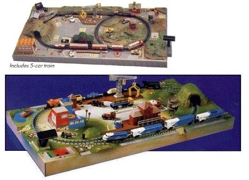 Circuiti Power Train City come appaiono sui cataloghi 1989 (sopra) e 1991 (sotto) - foto da m-m-world.com