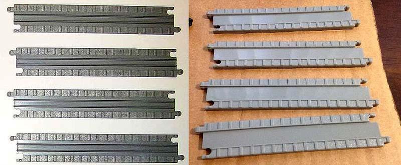 I due tipi di binari, a sinistra quelli più vecchi, a destra quelli più recenti - foto da ebay