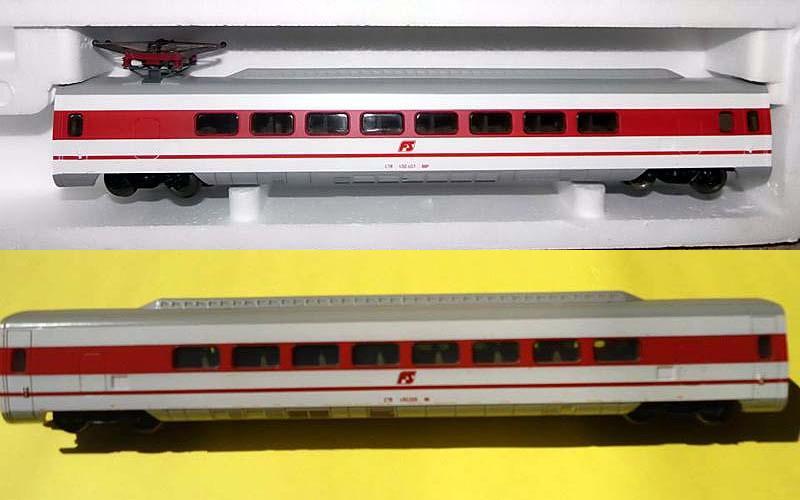 """Le due carrozze aggiuntive: sopra quella con pantografo, art. 201026K (foto da ebay), sotto quella senza pantografo, art. 201029K (foto da pagina Facebook """"Lima Trenini Elettrici"""")"""