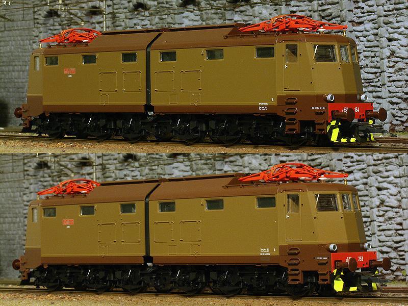 E636 154, art. 63633 (sopra) e 253, art. 63633.1 (sotto), entrambe in livrea castano-isabella - foto da Ferrovie.info