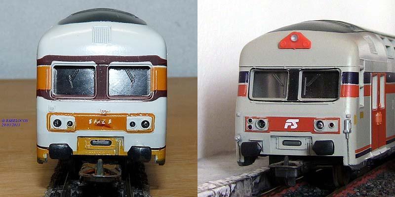 Confronto tra i frontali delle carrozze pilota SNCF (a sinistra, foto da rarelocos.com) e FS (a destra)