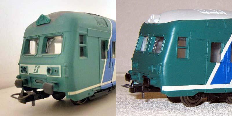 Frontali delle carrozze pilota in livrea XMPR a confronto: a sinistra la prima versione, art. 309501, a destra quella di produzione cinese, art. HL4102 - foto da ebay