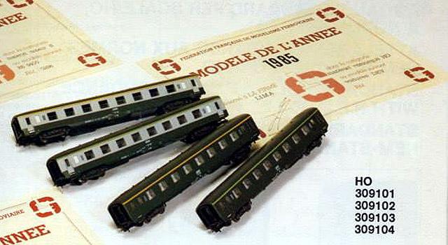"""Pagina del catalogo novità 1987 Lima: le carrozze DEV con l'attestato di """"modello dell'anno 1985"""" - foto da pagina Facebook """"Lima Trenini elettrici"""""""