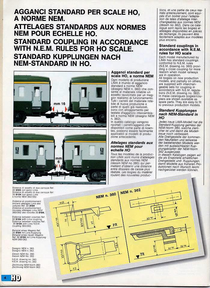 """Pagina del catalogo novità 1987 Lima, dove sono illustrate le innovazioni introdotte sui ganci - foto da pagina Facebook """"Lima Trenini elettrici"""""""
