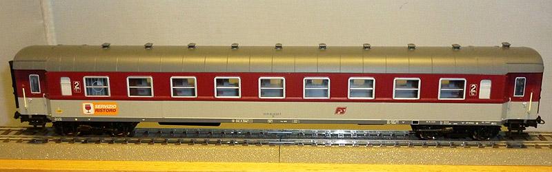 Carrozza di 2ª classe con posto ristoro in livrea rosso fegato-grigio beige, art. HR4173 - foto da ebay