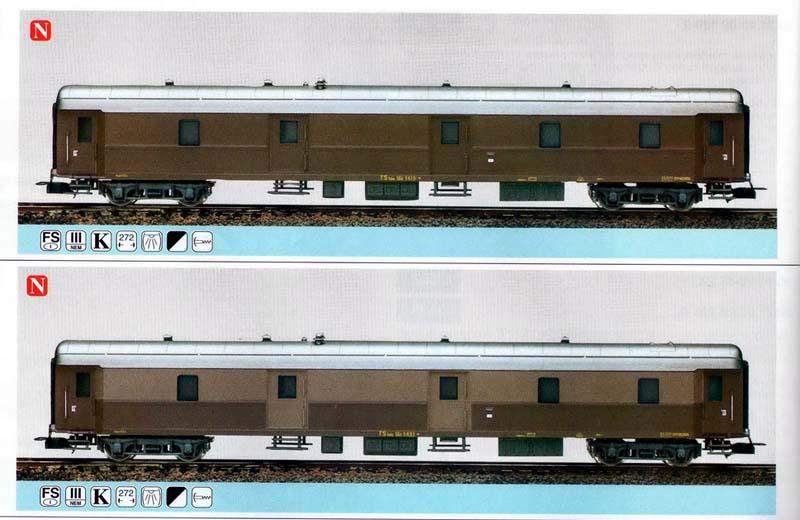 Le due versioni in tutto castano (sopra) e castano-isabella (sotto), esistite solo sui cataloghi - foto da catalogo novità 1997 - rivarossi-memory.it