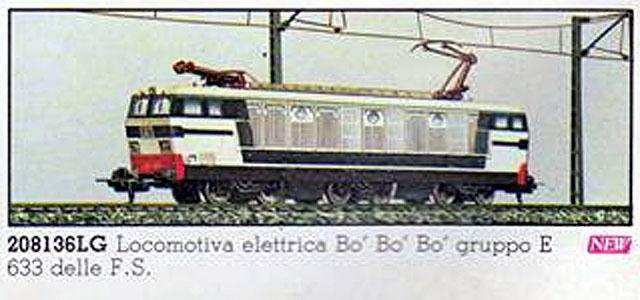 """Disegno della E633 prototipo Lima, dal catalogo 1980-81 - foto da pagina Facebook """"Lima trenini elettrici"""""""