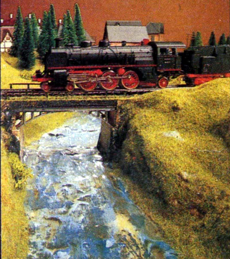 Particolare del fiume e di uno dei ponti ferroviari - foto da catalogo Lima 1985/86