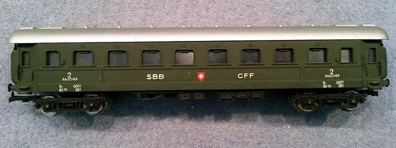 Carrozza SBB in livrea verde, art. 9106 - foto da ebay