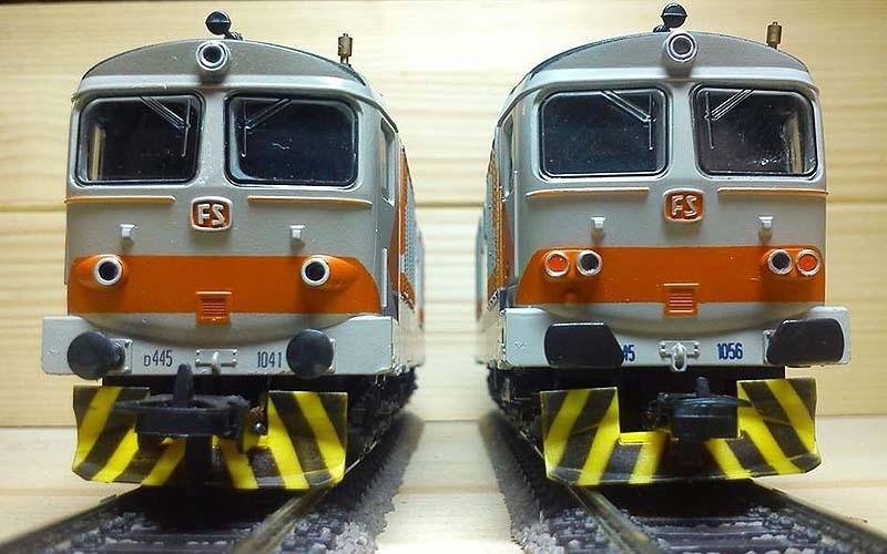 "D445 1041 (a sinistra, art. 281515L) e 1056 (a destra, art. 208152S) - foto da pagina Facebook ""Lima Trenini Elettrici"""