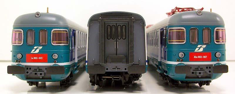 ALe803 007 e rimorchi Le 803 112 e 005 in livrea XMPR, art. 91402, vista frontale - foto da ebay